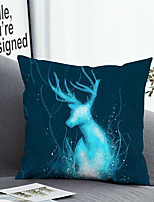 cheap -1 Pc Cushion Cover with or without Pillow Insert Double Side Print Elk Blue Light Animal 38x38cm / 45x45cm Polyester