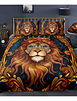 cheap -3-Piece Duvet Cover Set Hotel Bedding Sets Comforter Cover with Soft Lightweight Microfiber, Include 1 Duvet Cover, 2 Pillowcases for Double/Queen/King(1 Pillowcase for Twin/Single) India Lion