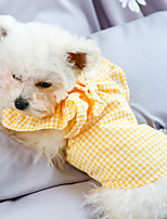 cheap -Dog Cat Shirt / T-Shirt Plaid Elegant Adorable Cute Dailywear Casual / Daily Dog Clothes Puppy Clothes Dog Outfits Breathable Yellow Costume for Girl and Boy Dog Polyester XS S M L XL