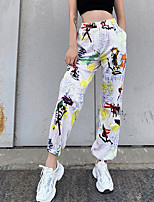 cheap -Women's Casual / Sporty Streetwear Comfort Casual Going out Sweatpants Pants Graffiti Ankle-Length Pocket Print White