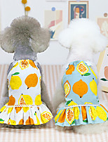 cheap -Dog Cat Dress Vest Fruit Basic Adorable Cute Dailywear Casual / Daily Dog Clothes Puppy Clothes Dog Outfits Breathable 21 Lemon Skirt-White 21 Lemon Skirt-Blue Gray Costume for Girl and Boy Dog Cotton
