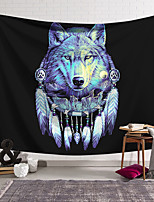 cheap -Wall Tapestry Art Decor Blanket Curtain Hanging Home Bedroom Living Room Decoration Polyester Blue Wolf Head