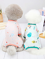 cheap -Dog Cat Jumpsuit Pajamas Print Fruit Basic Adorable Cute Dailywear Casual / Daily Dog Clothes Puppy Clothes Dog Outfits Breathable Yellow Pink Green Costume for Girl and Boy Dog Cotton S M L XL XXL