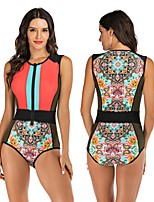 cheap -Women's One Piece Swimsuit Swimwear Breathable Quick Dry Sleeveless Front Zip - Swimming Surfing Water Sports Painting Autumn / Fall Spring Summer