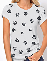 cheap -Women's T shirt Dog Graphic Print Round Neck Tops Basic Basic Top White Navy Blue khaki