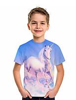 cheap -Kids Boys' T shirt Tee Short Sleeve Unicorn Graphic 3D Animal Print Children Tops Active Light Blue