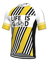cheap -21Grams Men's Short Sleeve Cycling Jersey Spandex Yellow Stripes Bike Top Mountain Bike MTB Road Bike Cycling Breathable Quick Dry Sports Clothing Apparel / Athleisure