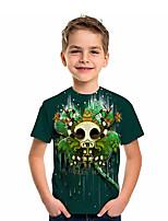 cheap -Kids Boys' T shirt Tee Short Sleeve Graphic 3D Four Leaf Clover Print Children St. Patrick Tops Active Green