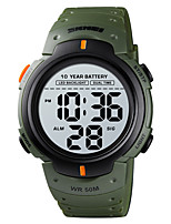 cheap -SKMEI Men's Sport Watch Digital Sporty Stylish Calendar / date / day Chronograph Alarm Clock Digital Black Green / One Year / Silicone / Dual Time Zones