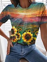 cheap -Women's T shirt Graphic 3D Flower Print Round Neck Tops Basic Basic Top Green