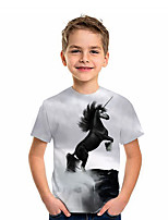 cheap -Kids Boys' T shirt Tee Short Sleeve Unicorn Graphic 3D Animal Print Children Tops Active Gray