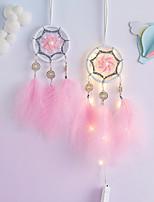 cheap -LED Boho Dream Catcher Handmade Gift Wall Hanging Decor Art Ornament Craft Feather 40*7cm for Kids Bedroom Wedding Festival