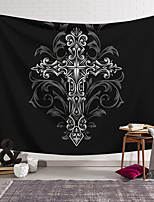 cheap -Wall Tapestry Art Decor Blanket Curtain Hanging Home Bedroom Living Room Decoration Polyester Cross Badge Black Hollow