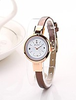 cheap -Women Lady Round Quartz Narrow Edge Analog Bracelet Wristwatch Watch (Brown)