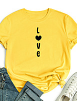 cheap -Women's T shirt Graphic Heart Letter Print Round Neck Tops 100% Cotton Basic Basic Top White Black Blue