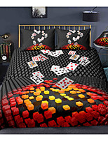 cheap -3D Poker 3-Piece Duvet Cover Set Hotel Bedding Sets Comforter Cover with Soft Lightweight Microfiber, Include 1 Duvet Cover, 2 Pillowcases for Double/Queen/King(1 Pillowcase for Twin/Single)