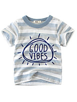 cheap -Boys' Short Sleeve T-Shirts Cartoon Good Vibes Tees Round Neck Kids Tops for 3-7 Years