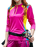 cheap -Women's T shirt Hiking Tee shirt Long Sleeve Stand Collar Tee Tshirt Top Outdoor Lightweight Breathable Quick Dry Soft Autumn / Fall Spring Polyester Patchwork Purple Yellow Blue Fishing Climbing
