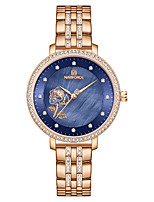 cheap -NAVIFORCE Women's Quartz Watches Quartz Stylish Floral Style Luxury Water Resistant / Waterproof Analog Rose Gold Blue Gold / Two Years / Stainless Steel / Japanese