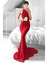 cheap -Mermaid / Trumpet Beautiful Back Sexy Party Wear Formal Evening Dress Halter Neck Sleeveless Sweep / Brush Train Lace with Lace Insert 2021