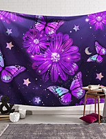 cheap -Wall Tapestry Art Decor Blanket Curtain Hanging Home Bedroom Living Room Decoration Polyester Purple Butterfly Purple Flowers
