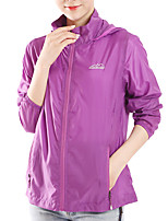 cheap -Women's Hiking Skin Jacket Hiking Windbreaker Outdoor Solid Color Packable Waterproof Lightweight UV Sun Protection Outerwear Jacket Top Full Length Visible Zipper Fishing Climbing Running Purple Red