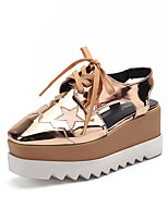 cheap -Women's Sandals Wedge Heel Square Toe Wedge Sandals Casual Daily Walking Shoes PU Lace-up Golden Black shoes Golden shoes