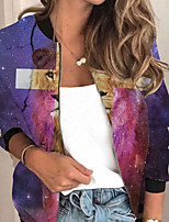 cheap -Women's Animal Patterned Print Active Spring &  Fall Jacket Regular Daily Long Sleeve Air Layer Fabric Coat Tops Purple