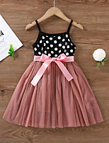 cheap -Kids Little Girls' Dress Black & Red Patchwork Ruched Patchwork Bow Black Sleeveless Active Cute Dresses Regular Fit