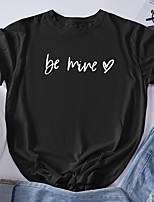 cheap -Women's T shirt Graphic Letter Print Round Neck Tops 100% Cotton Basic Basic Top Black Blue Red