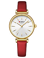 cheap -CURREN Women's Quartz Watches Quartz Fashion Water Resistant / Waterproof Analog Red Green Brown / One Year / Genuine Leather / Japanese