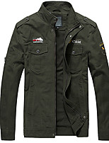 cheap -Men's Bomber Jacket Military Tactical Jacket Outdoor Solid Color Lightweight Breathable Quick Dry Soft Jacket Top Cotton Full Length Visible Zipper Hunting Fishing Climbing Black Army Green Khaki