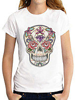 cheap -Women's T shirt Graphic Skull Print Round Neck Tops Basic Basic Top White