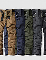cheap -Men's Hiking Pants Trousers Hiking Cargo Pants Solid Color Winter Outdoor Breathable Anti-tear Multi-Pockets Wear Resistance Cotton Bottoms Black Army Green Dark Gray Khaki Dark Blue Hunting Fishing