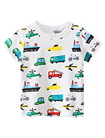 cheap -Boys' Short Sleeve T-Shirts Cartoon Means of Transportation Tees Round Neck Kids Tops for 3-7 Years