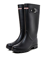 cheap -Women's Boots Chunky Heel Round Toe Mid Calf Boots Classic Daily PVC Solid Colored Black / Mid-Calf Boots
