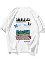 cheap -Men's Unisex T shirt Hot Stamping Butterfly Animal Plus Size Print Short Sleeve Daily Tops 100% Cotton Basic Casual White Black
