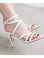 cheap -Women's Sandals Stiletto Heel Open Toe Minimalism Wedding Party & Evening Patent Leather Buckle Solid Colored White Black Yellow