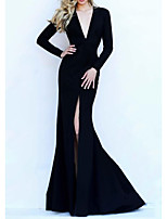 cheap -Mermaid / Trumpet Beautiful Back Sexy Wedding Guest Formal Evening Dress V Neck Long Sleeve Sweep / Brush Train Satin with Pleats 2021