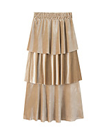 cheap -Women's Party Evening Date Elegant Vintage Skirts Solid Colored Layered Patchwork Blushing Pink Army Green Navy Blue