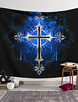cheap -Wall Tapestry Art Decor Blanket Curtain Hanging Home Bedroom Living Room Decoration Polyester Cross Badge Blue Background