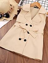 cheap -Kids Little Girls' Dress Solid Colored Beige Sleeveless Basic Cute Dresses Regular Fit