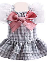 cheap -Dog Cat Dress Plaid Bowknot Elegant Adorable Cute Dailywear Casual / Daily Dog Clothes Puppy Clothes Dog Outfits Breathable Gray Costume for Girl and Boy Dog Polyester XS S M L XL
