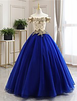 cheap -Ball Gown Luxurious Floral Quinceanera Prom Dress Off Shoulder Sleeveless Floor Length Tulle with Pleats Embroidery 2021