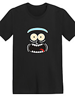 cheap -Men's Unisex T shirt Hot Stamping Cartoon Plus Size Print Short Sleeve Daily Tops 100% Cotton Basic Casual White Black Navy Blue