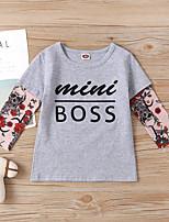 cheap -Kids Boys' T shirt Blouse Patchwork Floral Letter Print Long Sleeve Basic Black Gray