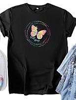 cheap -Women's T shirt Graphic Butterfly Print Round Neck Tops 100% Cotton Basic Basic Top White Black Blue