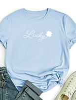 cheap -Women's T shirt Graphic Print Round Neck Tops 100% Cotton Basic Basic Top Black Blue Red