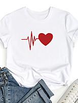 cheap -Women's T shirt Graphic Heart Print Round Neck Tops 100% Cotton Basic Basic Top White Black Blue