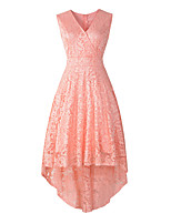cheap -A-Line Elegant Vintage Party Wear Cocktail Party Dress V Neck Sleeveless Asymmetrical Lace with Pleats Tier 2021